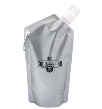 Collapsible water bottle with plastic cap and twist-off, push/pull lid. Holds up to 591 ml (20 oz.) and comes with a silver carabineer. Stands when full and can be folded or rolled when empty. BPA free.