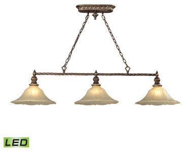 ELK Lighting 11555/3-LED Allesandria 3-Light Billiard Lights - traditional - Pool Table Lights - Lighting New York