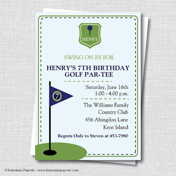Custom Preppy Golf Birthday Invitation Themed Party