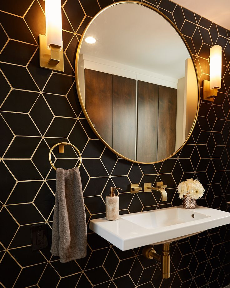 Oakland Bold Tile Powder Room black & brass with p…