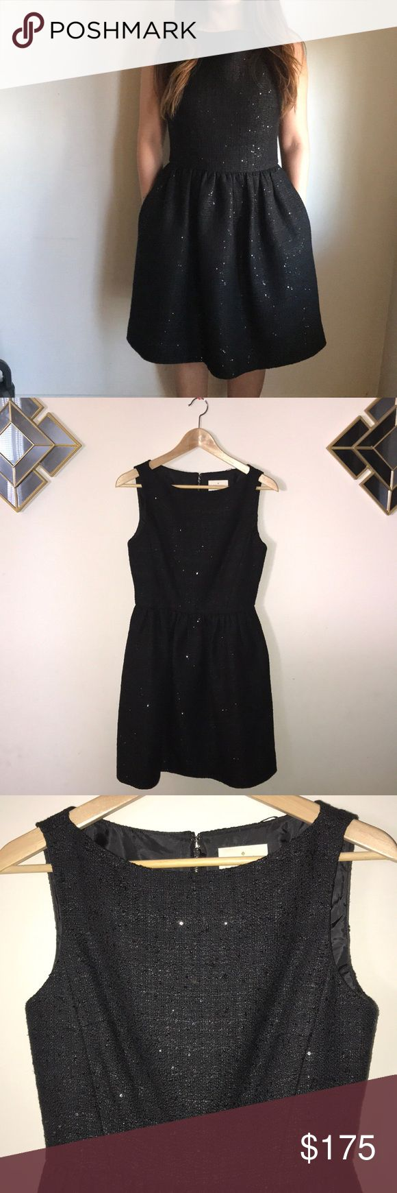 Kate Spade evening/cocktail dress New Kate Spade Dress • Black Sequin • Tweed Fit and Flare • Perfect for evening event • 70% cotton • 30% Polyester • Dry Clean Only kate spade Dresses