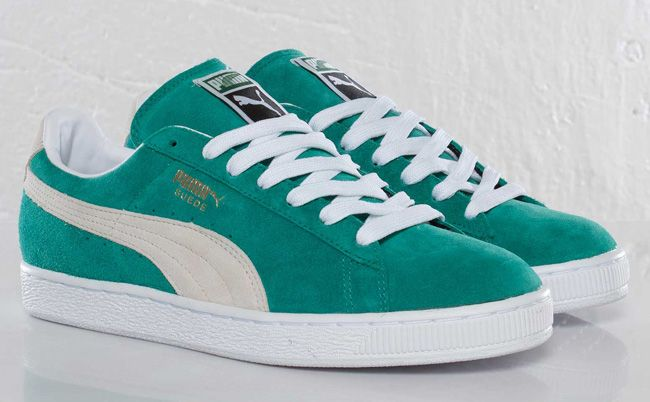 green suede puma shoes