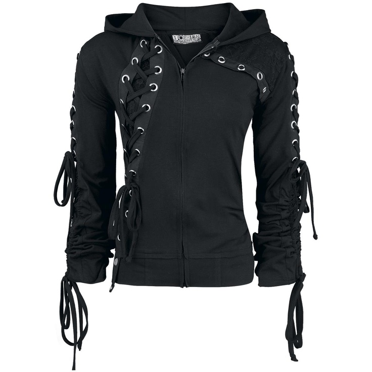 Repo - Poizen Industries - black zipper girlie style hoody with lace-up details