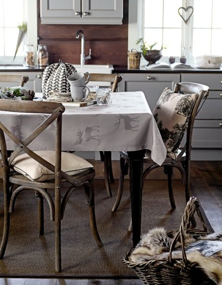 Jacquard grey w deer - Stoff & Stil - Modern nordic christmas - DIY table cloth. Interior design - christmas.