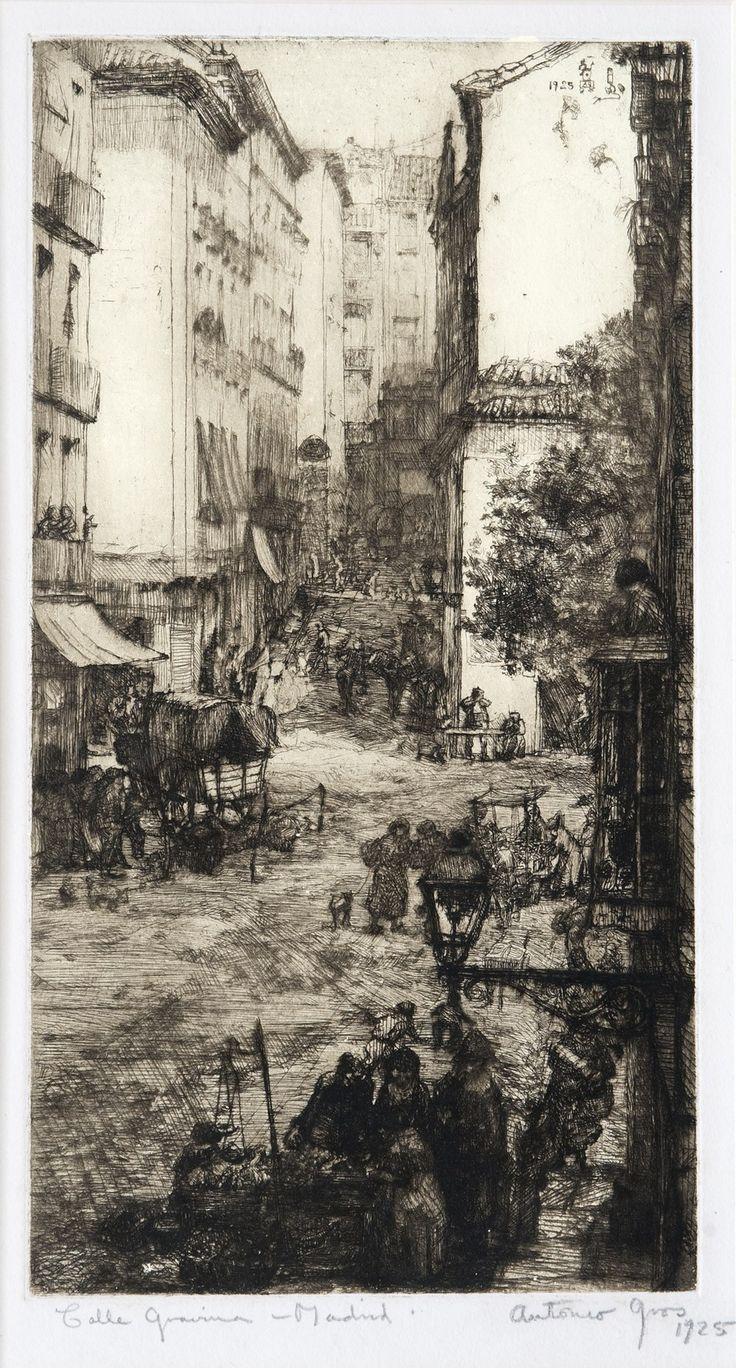 Anthony Gross(British, 1905-1984) Galle Gravina, Madrid 1925 etching