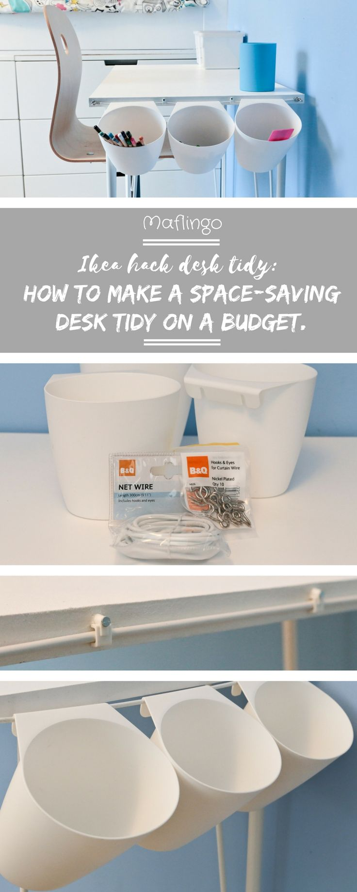 DIY project: Children's Ikea Hack Desk Tidy. To free up space on the MDF desk on IKEA Krille Legs I made, I made a desk tidy using net curtain wire and IKEA Bygel pots for organising pens and pencils. You can use Ikea Sunnersta Containers.Click through to Maflingo for my step by step tutorial.