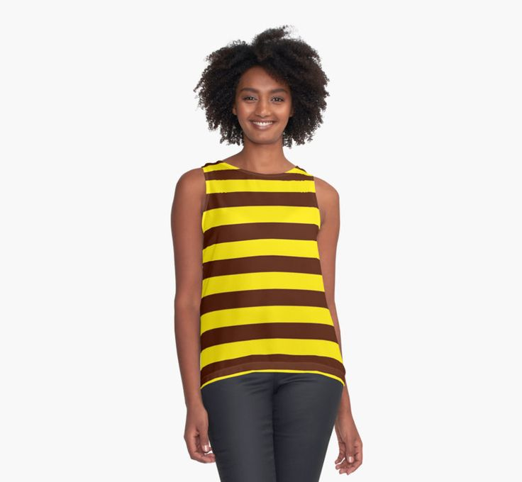 Get 20% off with code GOWILD - use at checkout! Bee stripes pattern, yellow, brown, black lines by cool-shirts