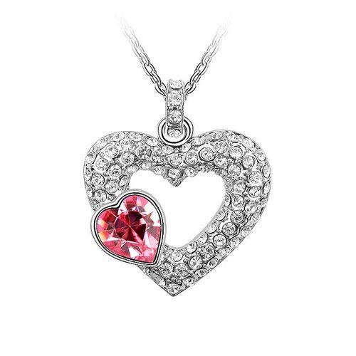 Rózsaszín-fehér kristályos szív nyaklánc I FeminaShop.hu
