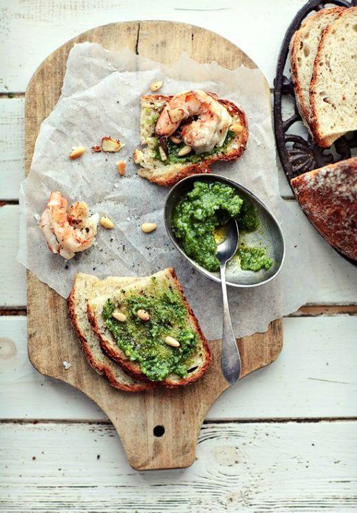 Classic Pesto+ Toast with pesto, shrimp and garlic