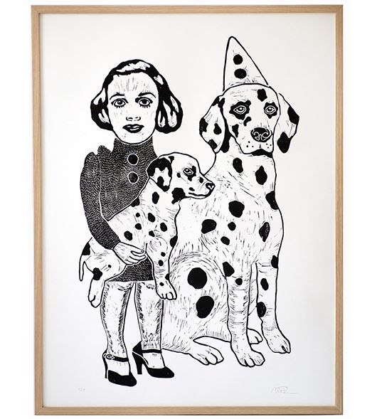 Little family. Lino print 60x80cm. monikapetersen.com