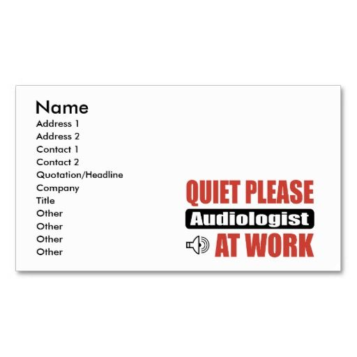 Quiet Please Audiologist At Work Double Sided Standard Business Cards Pack Of 100