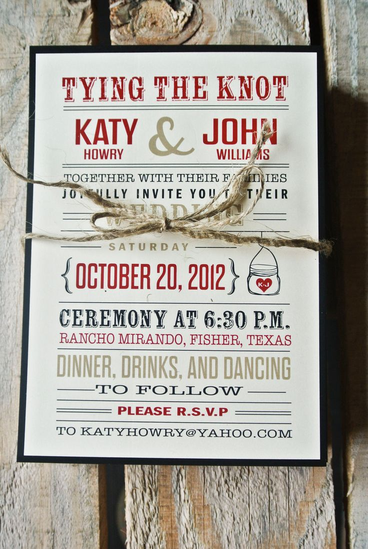 funny wedding invitation rsvp goes viral%0A Wedding Invitation  Rustic Tying the knot  Black  Red  and Cream