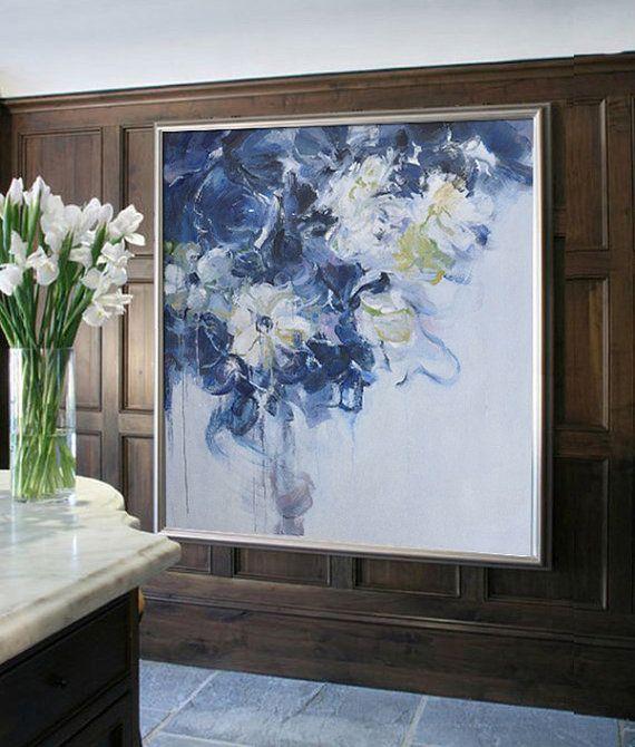 Resumen flores pintura al óleo sobre lienzo, Arte Original, pintura de paisaje impresionista de Jackson - Celine Ziang arte