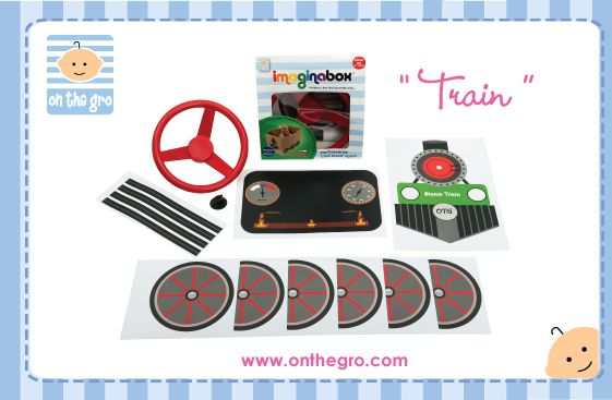 """$19.95  Imaginabox® Train – the simple, but practical kit that turns any cardboard box into a train...choo choo!   Developed to stimulate children's imaginations - all moving plastic parts & stickers are reusable, recyclable and simple to assemble...children will never be """"card-bored"""" again!   Imaginabox® makes a fabulous inexpensive gift that a child can also participate in building. They will LOVE it."""