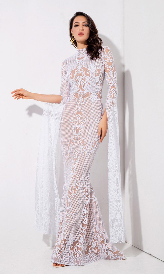 61f5998fc62 Longing For Love White Lace Glitter Extra Long Sleeve Mock Neck Bodycon  Mermaid Maxi Dress