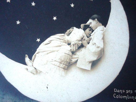 Antique paper moon postcard  Colombine Pierrot  by LizKnijnenburg