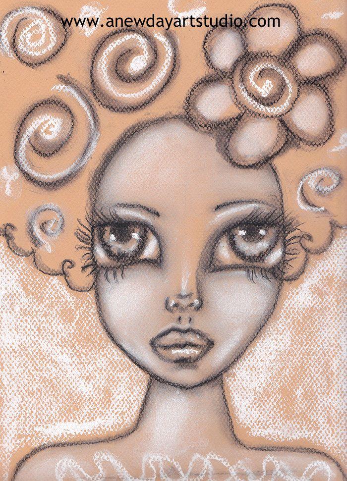 Pastel, art journal page, Dreamy Faces Class