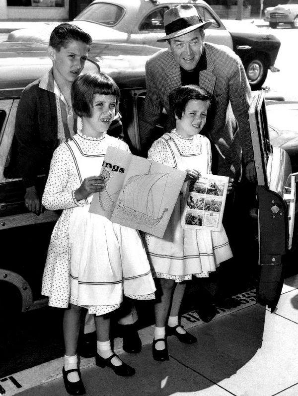 Jimmy Stewart with his children, 1950s