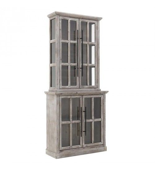 WOODEN VITRINE IN ANTIQUE BROWN COLOR 86_5X34X193