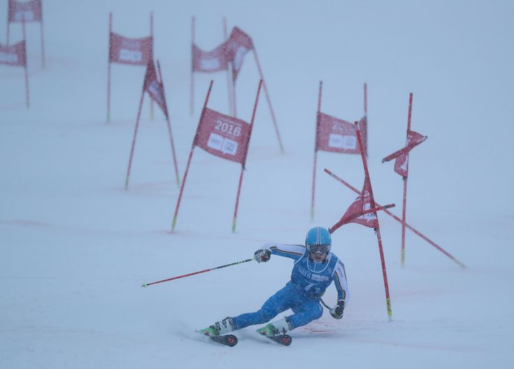 Jonas Stockinger GER competes in the Alpine Skiing Parallel Mixed Team Event Finals under a heavy snowfall at Hafjell Olympic Slope during the Winter Youth Olympic Games Lillehammer Norway @lillehammer2016 @anychance_