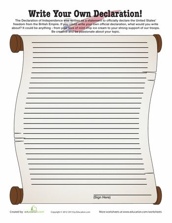 Worksheets: Write Your Own Declaration!