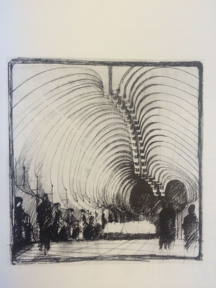 Imre Makovecz - Farkasret Mortuary Chapel sketch. 1975