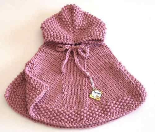 poncho de lana para bebé tejido a mano - 2 años