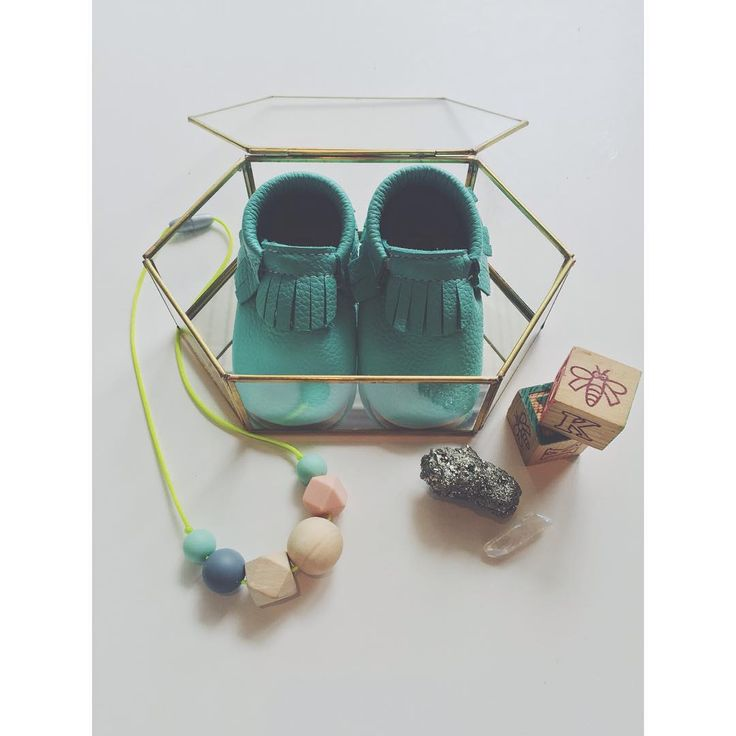 "Functional Nontoxic Jewellery® on Instagram: ""A pretty delicious gift for a new mama. Fresh, fun and unique in minty aqua, neon and wood (that combo makes me swoon). Featuring gorgeous leather moccasins by @minimoc and our Never Give Up necklace {$3 from every purchase of this necklaces goes to the @gsfoundation } // The pop of neon on this necklace is sure to be a hit at a baby shower. We LOVE our @minimoc booties."