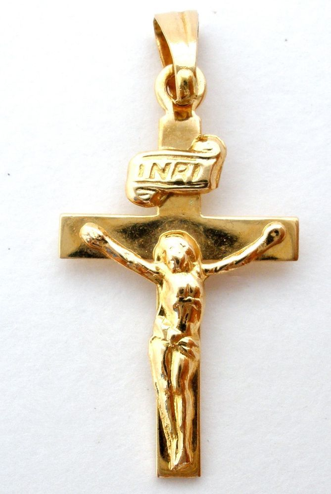 18k Yellow Gold Cross Pendant For Necklace Italian Crucifix Inri Vintage Charm Jewelry Watches Fine Jewelry Fine Ne Gold Cross Pendant Pendant Gold Cross