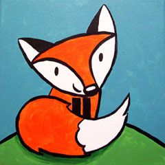 Social Artworking Canvas Painting Design - Friendly Fox