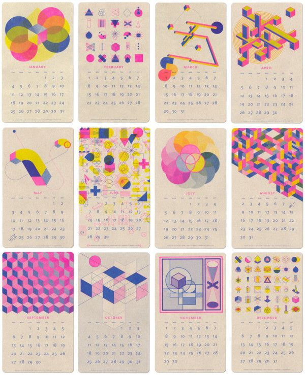 JP King designed another year of geometric, mid-century-ish designs in the perfect combination of fluorescent pink, blue, and yellow.