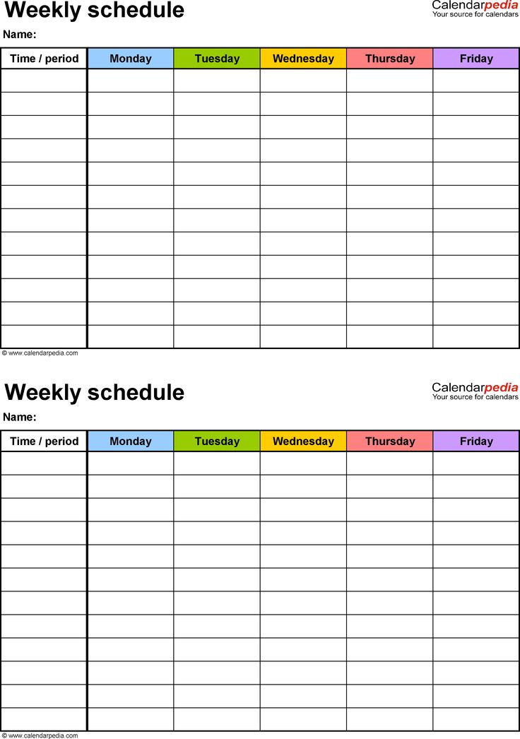 Weekly schedule template for PDF version 3: 2 schedules on one page, portrait, Monday to Friday (5 day week), in color