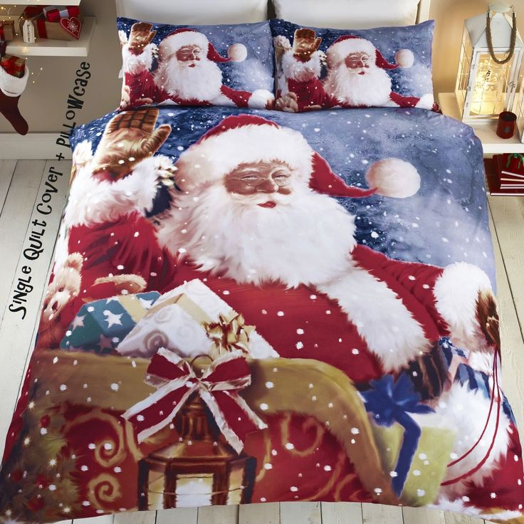 Christmas Quilt Cover Bedding Set Father Christmas Tree Santa Claus Decoration in Home, Furniture & DIY, Bedding, Bed Linens & Sets | eBay