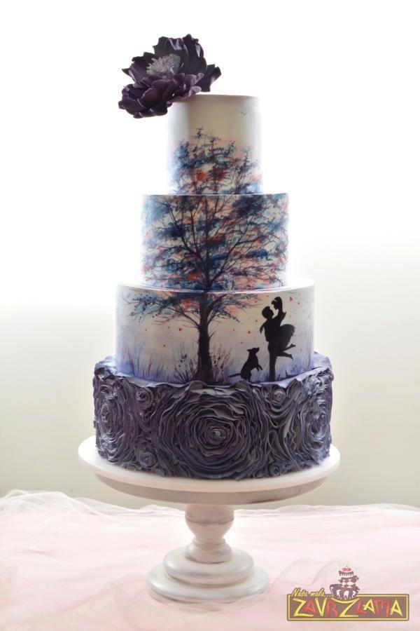 Silhouette Wedding Cake by Nasa Mala Zavrzlama - http://cakesdecor.com/cakes/255714-silhouette-wedding-cake