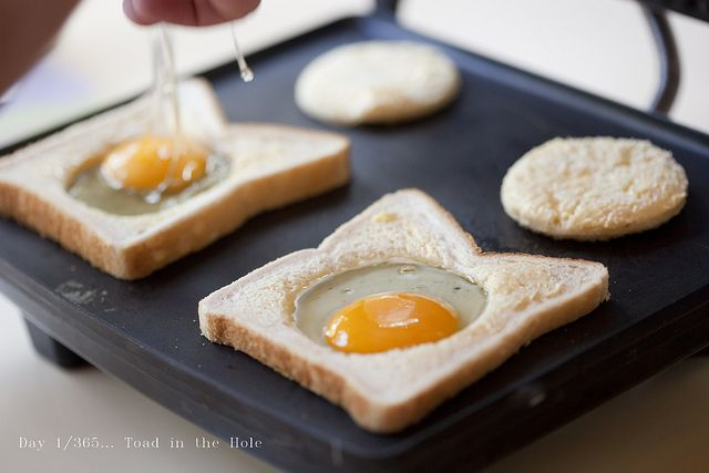 Kid-Friendly Breakfast: Toad in the Hole | Toad in the Hole is an easy #breakfast of an egg cooked in the center of a piece of bread (the English version is an equally delicious dish of sausage baked in Yorkshire pudding).