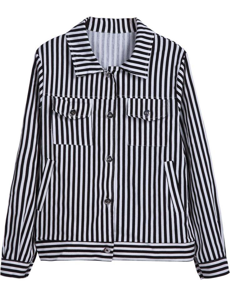 Black & White Vertical Stripe Jacket.