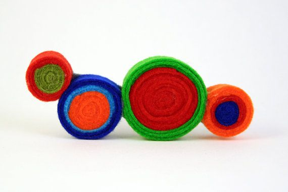 Felt brooch-Felt pin-Brooch pin-Colorful concentric circles felt brooch-Abstract jewelry-Colorful brooch-Mother and daughter  ► BEFORE PURCHASING PLEASE