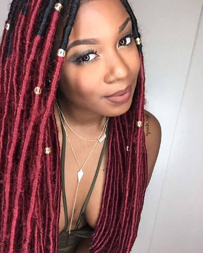 Red Ombre Faux Locs Faux Locs In 2019 Faux Locs Styles