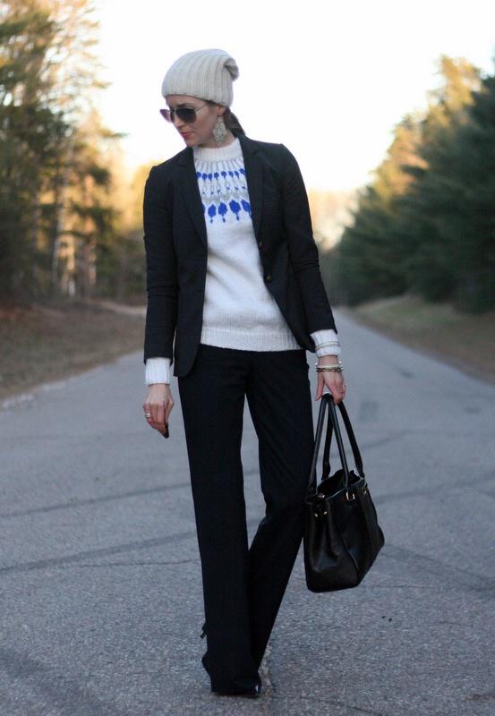 Fair isle sweater and a blazer | Laura Wears... My interpretation: http://librarianforlifestyle.wordpress.com/2012/11/30/copycats-sweater-love/