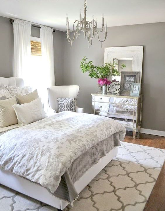 master bedroom decorating ideas INCREDIBLY BEAUTIFUL!! - THE SHADE OF GREY IS SO SOFT AND PRETTY, MAKING THE ROOM FEEL VERY RESTFUL!! ⚜️