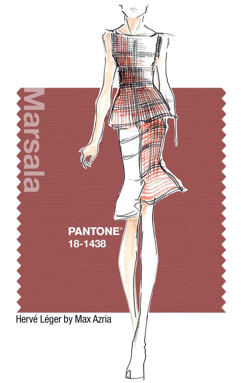 Hervé Léger in Pantone Marsala - SPRING 2015 PANTONE's #FashionColorReport