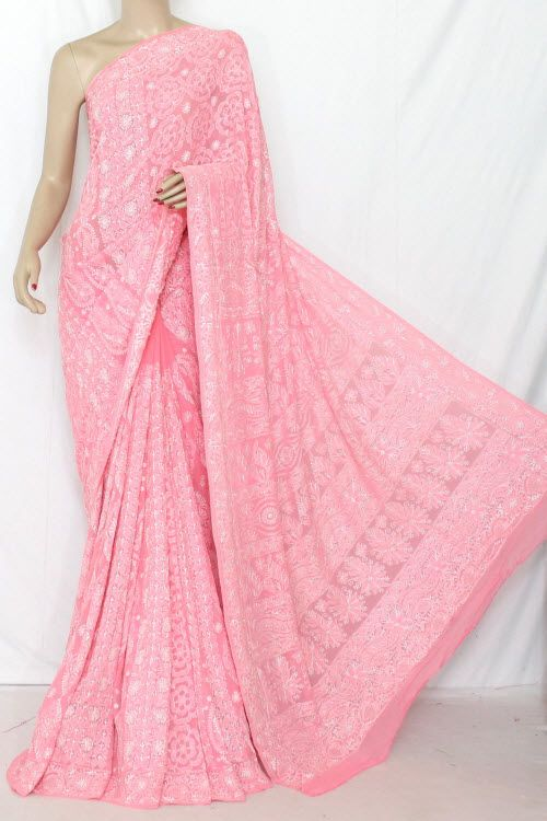 Peach Color Allover Hand Embroidered Lucknowi Chikankari Saree (With Blouse - Pure Georgette) 13692