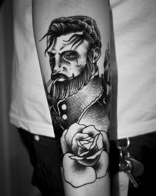 tatuagem, rosa, homem, barba
