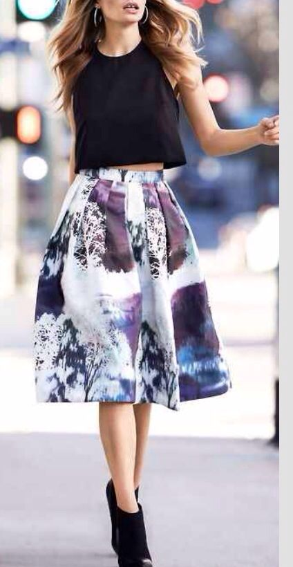 Trendy : crop top, floral A-line skirt, and ankle boots