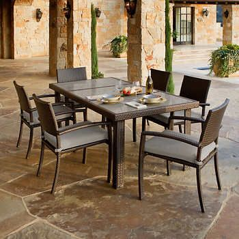 Portofino 7 Piece Dining Set In Espresso Taupe Stone Top Stacking Chairs