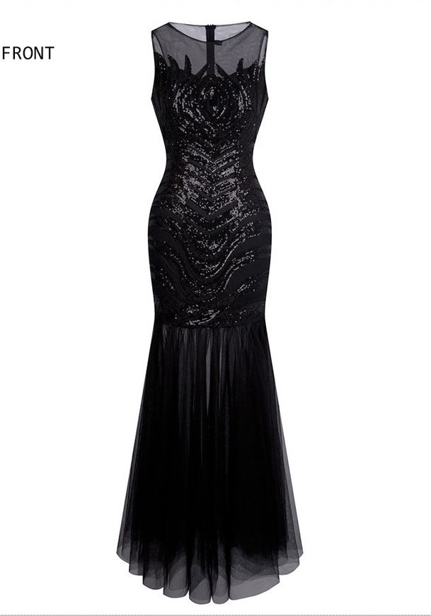 Sheer 1920s Vintage Sequin Flapper Gatsby Illusion Long Prom Dresses