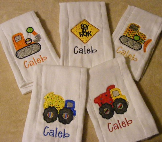 Personalized Construction Baby Boy Burp Cloth Set