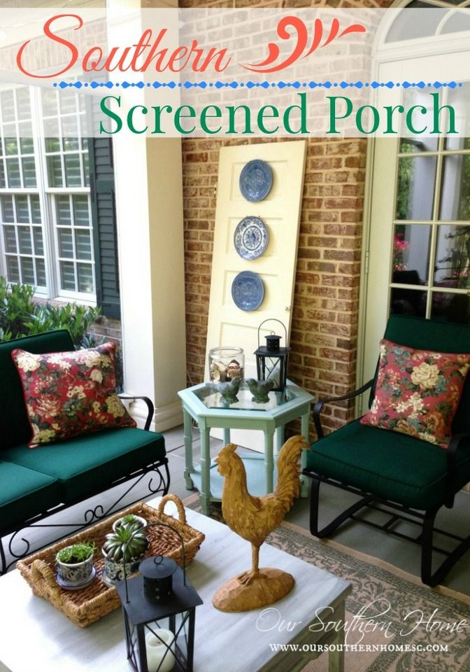 Our Southern Home | Southern Screened Porch {Our Home Tour} | http://www.oursouthernhomesc.com