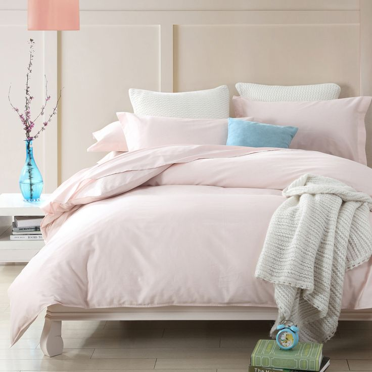 Satin Weave Cotton Pure Color Light Pink Duvet Cover Set