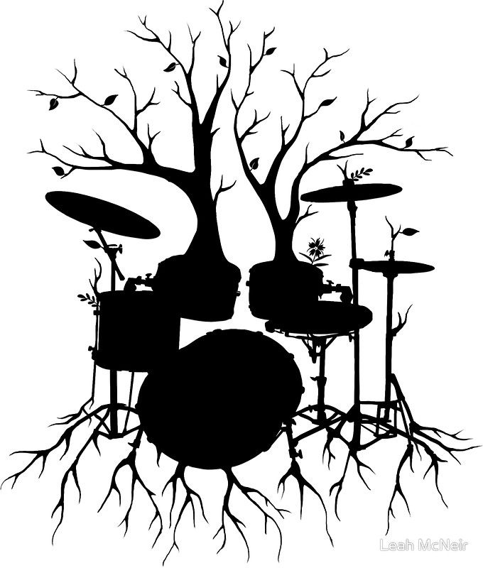 """""""Live the Beat to the Tempo of Creation"""" ~ drum tree art, version2 by Leah McNeir"""